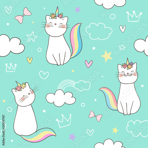fototapeta na ścianę Seamless pattern kitty cat unicorn on green