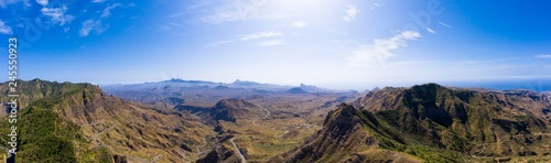 Aerial Panoramic view of Serra Malagueta natural parc in Santiago island in Cape Verde - Cabo Verde
