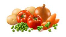 Potato, Carrot, Tomato, Onion And Green Peas Isolated On White Background