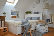 Cozy White Scandinavian Bedroom In The Attic