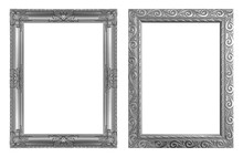 Set 2 - Antique Gray Frame Isolated On White Background, Clipping Path