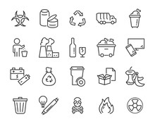 Set Of Waste Icons, Such As Ga...