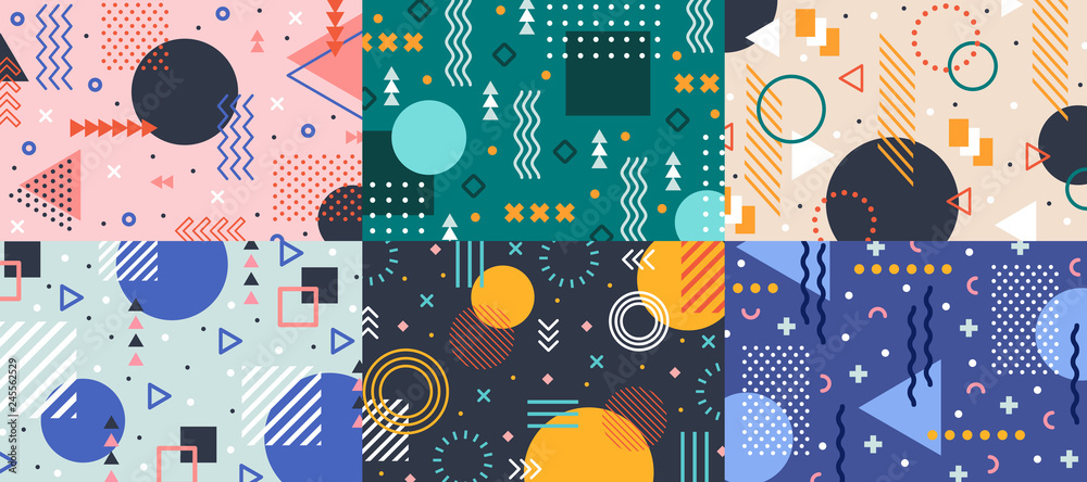 Fototapeta Memphis geometry background. Colorful shapes pattern, vivid coloring texture and funky color patterns abstract vector backgrounds