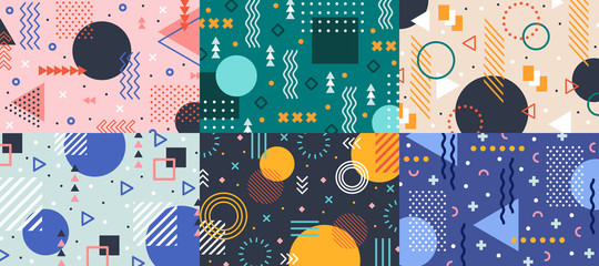 Memphis geometry background. Colorful shapes pattern, vivid coloring texture and funky color patterns abstract vector backgrounds