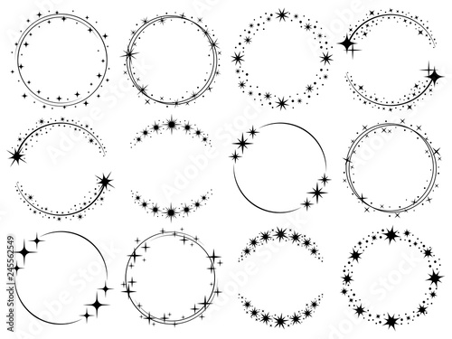 Obraz Stardust frames. Shiny star circle frame, starry glitter stamp and round magic twinkle stars trace isolated vector set - fototapety do salonu