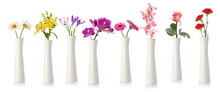Flowers In Tall White Vases