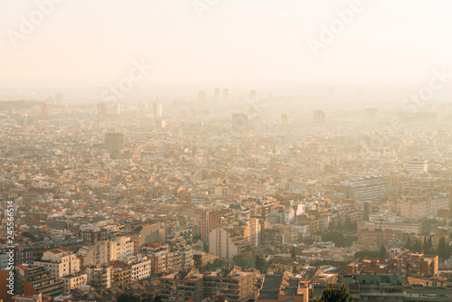 Tuinposter Centraal-Amerika Landen Sunset cityscape skyline view from Bunkers Del Carmel, in Barcelona, Spain
