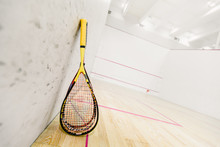 Closeup Photo Of Squash Racket...