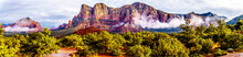 Panorama Of The Red Rocks Of The Munds Mountain Wilderness Near The Town Of Sedona In Northern Arizona In Coconino National Forest, USA