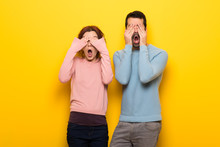 Couple In Valentine Day Covering Eyes By Hands