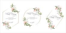 Frame On Flower Background. Wedding Invitation, Modern Card Design. Geometric Golden Frame Print. Eps 8.