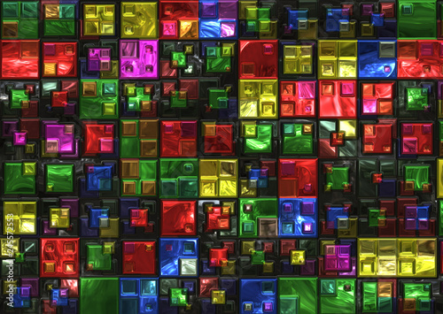 Deurstickers Stained colored glass bricks wallpaper