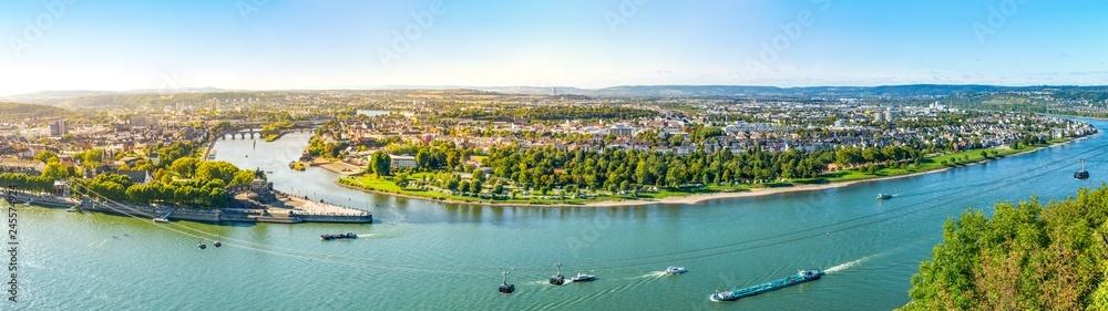 Fototapety, obrazy: Koblenz, Blick von der Festung Ehrenbreitstein über Rhein, Mosel und die Stadt Koblenz