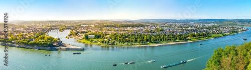 Fotografie, Obraz Koblenz, Blick von der Festung Ehrenbreitstein über Rhein, Mosel und die Stadt K