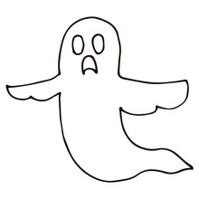 Cartoon Doodle Linear Ghost Is...