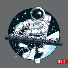 Astronaut Playing Piano Synthesizer In Space. Space Tourist. Vector Illustration.