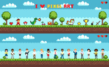 Set Of Character Selection For Playing Game, Man And Women, Things And Symbols. Pixel Art Illustration On Green Landscape And Cloudy Sky With Trees Vector