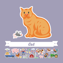 Vector Flat Illustration Of Cartoon Cat And Mouse. Comic Isolated Funny Pet. Farming Collection Character Stickers.
