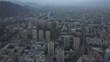 Aerial view of the city Santiago de Chile at sunrise