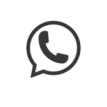 Vector Flat Icon Phone Handset. Telephone Icon, Whatsapp Logo Phone In Bubble Icon Vector