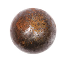 Old Rusty Iron Metal Ball Isolated On White Background