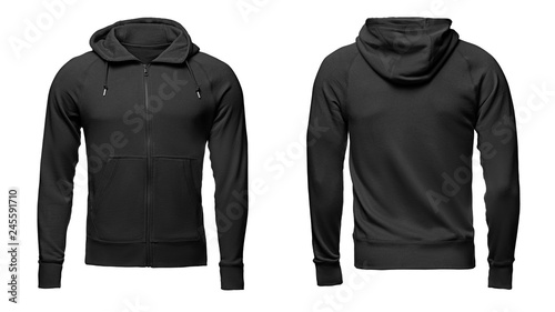 Blank black mens hoodie sweatshirt long sleeve with clipping path ... eead708f3c5e