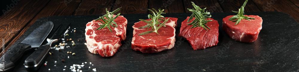 Fototapeta Steak raw. Barbecue Rib Eye Steak, dry Aged Wagyu Entrecote Steak.