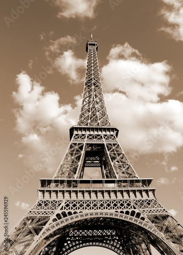 Fotografie, Tablou Eiffel Tower also c with toned sepia effect