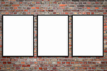 Three Blank Picture Frames On Brick Wall -  Framed Poster Mock-up With Stone Wall Background -
