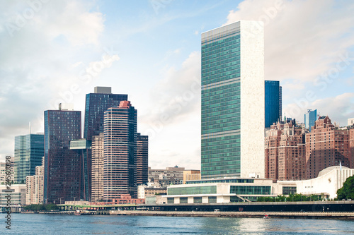 View of Midtown Manhattan skyline and the United Nations headquarters, viewed fr Canvas Print