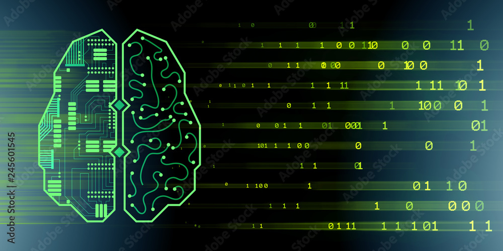 Fototapeta Machine learning and cognitive computing - 3d rendering