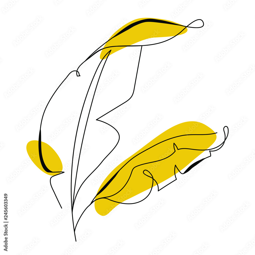 Fototapeta One line drawing banana tree leaf. Modern single line art, aesthetic contour. Perfect for home decor such as posters, wall art, tote bag, t-shirt print, sticker, mobile case. Vector illustration