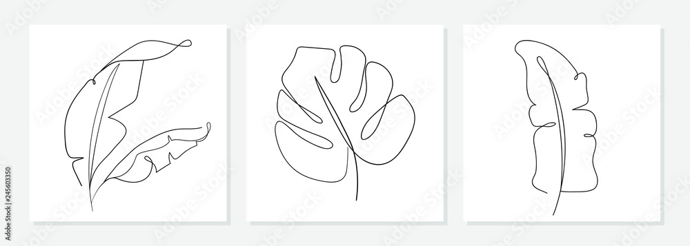 Fototapeta One line drawing vector monstera leaf and banana tree leaves. Modern single line art, aesthetic contour. Perfect for home decor such as posters, wall art, tote bag, t-shirt print, sticker, mobile case