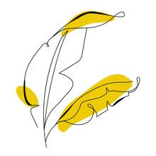 One Line Drawing Banana Tree L...