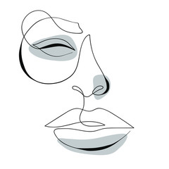 Fototapeta Minimalistyczny One line drawing face. Modern minimalism art, aesthetic contour. Abstract woman portrait minimalist style. Single line vector illustration