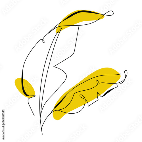 Obraz One line drawing banana tree leaf. Modern single line art, aesthetic contour. Perfect for home decor such as posters, wall art, tote bag, t-shirt print, sticker, mobile case. Vector illustration - fototapety do salonu