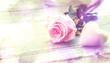 canvas print picture - Einzelne Rose vor Holz, Dekoration mit Herz,Panorama, beschreibbar