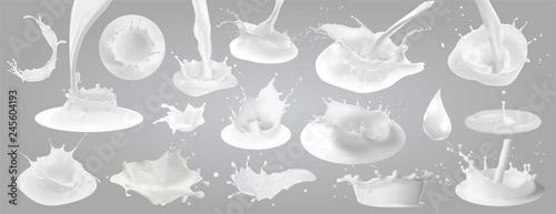 Obraz na plátne  Milk splashes, drops and blots.