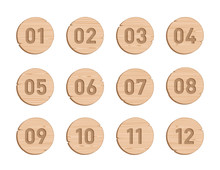 Wood Bullet Point Circles Number 1 To 12 Vector Set