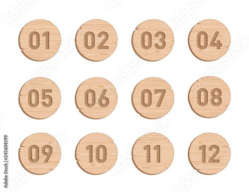 Billede på lærred Wood Bullet Point Circles Number 1 to 12 Vector Set