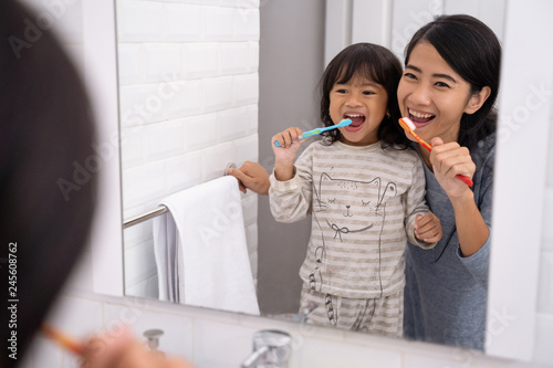 mom and kid brushing their teeth together Wallpaper Mural