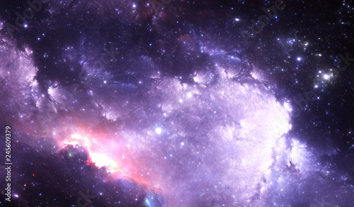 Photo Glowing space nebula and stars in deep space