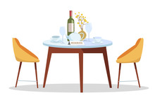 Place For Romantic Date. Reserved Sign On Table In Restaurant. Reserved Table Concept.round Table,served With Dishes, Vase, Wine With Modern Chairs. Cafe Reservations. Flat Cartoon Vector Illustration