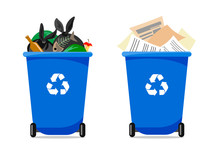 Two Blue Garbage Containers, One With Paper And The Other With Different Trash. Vector Illustration Of A Flat Style.