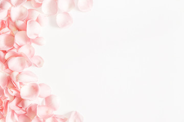 Flowers composition. Rose flower petals on white background. Valentines day, mothers day, womens day concept. Flat lay, top view, copy space
