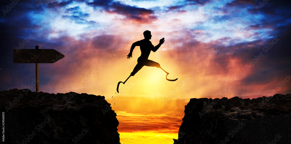 Fototapety, obrazy: courageous and motivated man jumps the crevasse