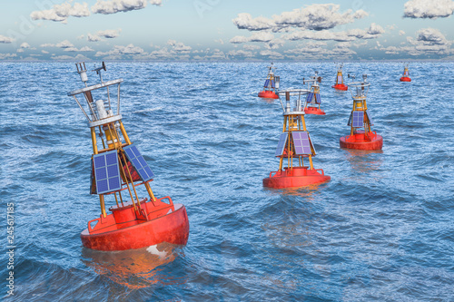 Marine navigational buoys in the open sea, 3D rendering Canvas Print