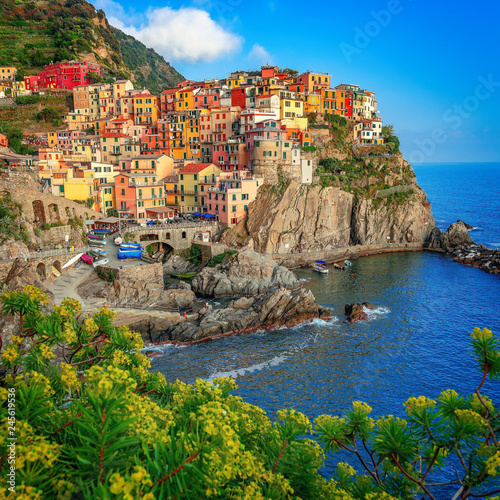 Fototapety, obrazy: Colorful town on the rocks, Manarola, Liguria, Italy