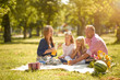 canvas print picture - Happy family with smiles picnic in the park on a sunny day