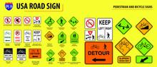 Set Of USA Road Sign.(PEDESTR...